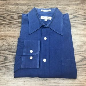 Christian Dior French Blue Dress Shirt 16 34/35